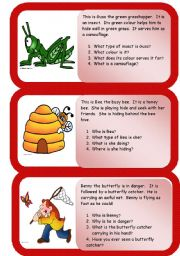 English Worksheet: insects - mini comprehensions