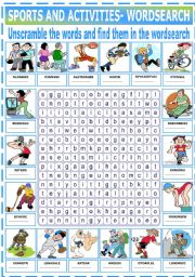 English Worksheet: SPORTS AND ACTIVITIES - WORDSEARCH