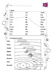 English Worksheet: Ordinal Numbers + Solar System
