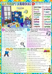 English Worksheet: ARTHUR´S BEDROOM- KEY INCLUDED