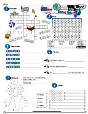 English Worksheet: Around The World Series_02 USA (Fully Editable + Key)