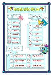 English Worksheets: sea animal creation
