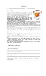 English Worksheet: basketball reading comprehension