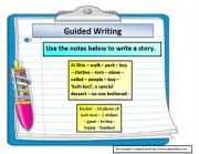 English Worksheet: guided writing; a story