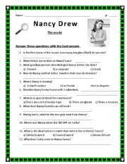 English Worksheets: NANCY DREW the movie questions