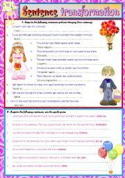 English Worksheet: SENTENCE TRANSFORMATION. (KEY INCLUDED)