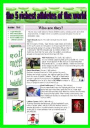 English Worksheets: THE 5 RICHEST ATHLETES OF THE WORLD