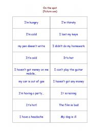 English worksheet: On the spot decision!