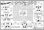 English Worksheet: shapes wordsearch