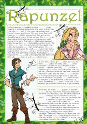 English Worksheet: RAPUNZEL READING (FILL IN THE BLANKS ACTIVITY) (two pages) (editable)