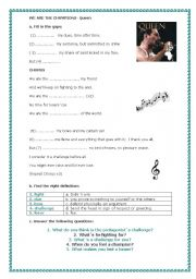 English Worksheet: WE ARE THE CHAMPIONS-QUEEN