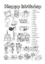 English Worksheet: Happy Birthday - 1 of  6
