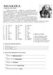 English Worksheet: Shakira