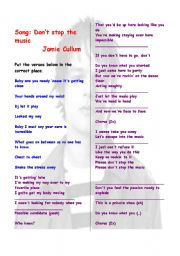 English Worksheet: Song  and vocabulary comprehension : Don�t stop the music (Jamie Cullum)