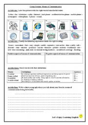English Worksheets: Group Session about means of communication