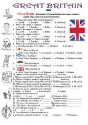 English worksheet: Quiz:Great Britain, Introduction, geographical position, cou ntries, capitals, symbols, saints.