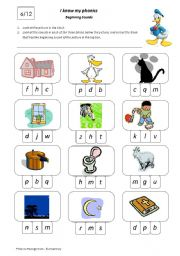 English Worksheets: I Know My Phonics Beginning Sounds 6/12