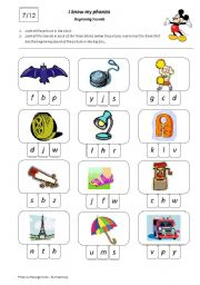 English Worksheets: I Know My Phonics Beginning Sounds 7/12