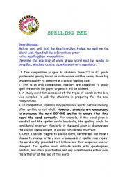 English Worksheet: Spelling Bee