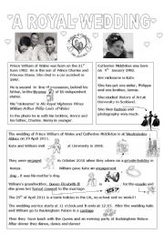 English Worksheet: A royal wedding william and kate