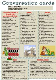 English Worksheet: cONVERSATION CARDS, GREAT BRITAIN