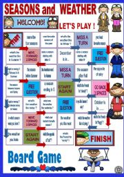 English Worksheet: SEASONS AND WEATHER - BOARD GAME