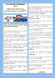 English Worksheet: LET�S PRACTISE REPHRASING! CONNECTORS,PASSIVE VOICE, RELATIVE CLAUSES AND IF-CLAUSES