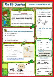 English Worksheets: Why do Mosquitoes Bites Itch? - A Science Question 6