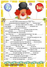 English Worksheets: Do or Does - Negative & Interrogative sentences, B&W version included