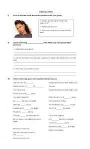 English Worksheets: No One - Alicia Keys