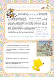 English Worksheets: The woodcutter and the fox