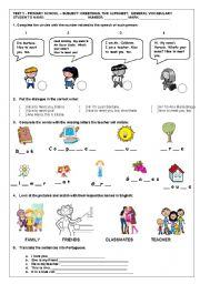 English Worksheets: TEST 2: GREETINGS, THE ALPHABET AND GENERAL VOCABULARY