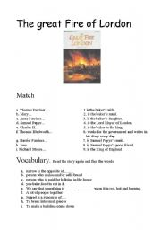 English Worksheet: the great fire of London