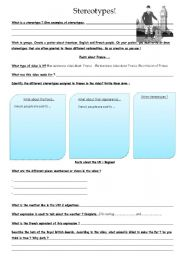English Worksheet: French and British Stereotypes !