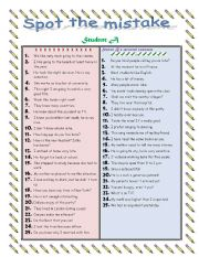 English Worksheets: FIND THE MISTAKES. PAIRWORK