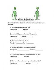 english worksheets alien adjectives. Black Bedroom Furniture Sets. Home Design Ideas