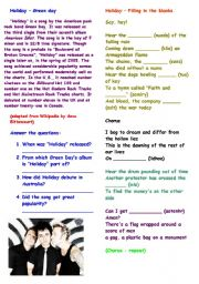 English Worksheet: Song - Holiday (Green Day ) with answer key and pre listening activity