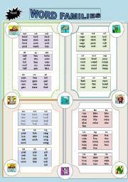 English Worksheet: Phonetics: Word Families