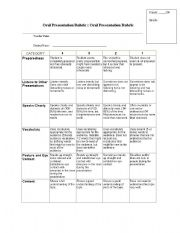 English Worksheet: Oral Presentation Rubric