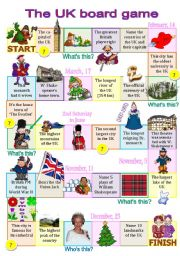 English Worksheets: The UK board game for intermediate students (fully editable)