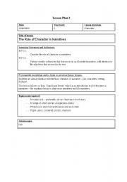 English Worksheets: The Role of Character in Narratives