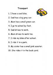 English Worksheets: Transportation means