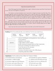English Worksheets: Huge Lobster Saved from the Pot