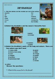 English Worksheet: The Gruffalo Cartoon