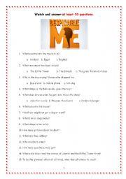 English Worksheet: Despicable me - Worksheet