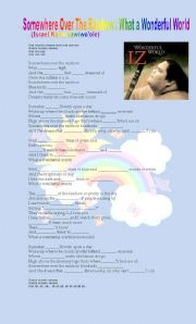 English Worksheet: IZ Somewhere over the rainbow
