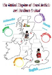 English Worksheet: The UK: cut-and-paste activity for young learners (2 pages, fully editable)