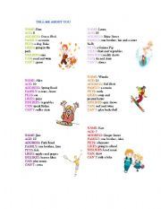 English Worksheets: tell me about you