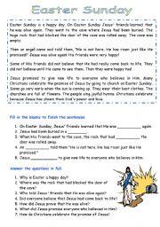 English Worksheet: Easter Comprehension