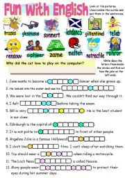English Worksheets: FUN WITH ENGLISH 2 - COLOUR, BLACK AND WHITE VERSION AND ANSWER KEY